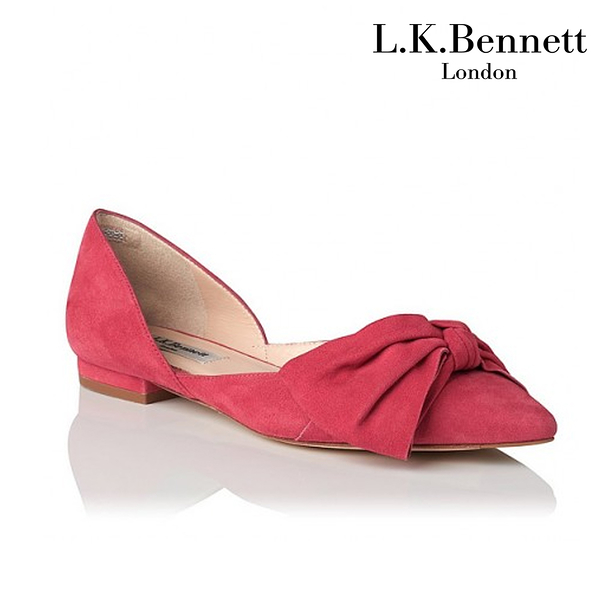 【L.K. BENNETT】凱特王妃摯愛 必搭鞋類 CLIO麂皮蝴蝶結平底鞋-橘紅 (原廠公司貨)
