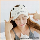 『坂井.亞希子』可愛刺繡貓咪可調式魔鬼氈寬邊洗臉髮帶