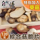 綜合草菇脆片120g大包裝 內含草菇、香菇、秀珍菇、杏鮑菇 自然優 日華好物