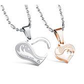 Mao 【5折超值價】 最新款經典時尚精美純鋼愛心組合造型情侶款鈦鋼項鍊(一對優惠價)