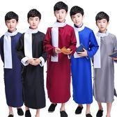 兒童相聲演出服相聲大褂馬褂中式長袍民國長衫兒童快板表演相聲服