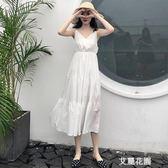 秋裝2019新款 夏季大碼女裝高腰顯瘦V領白色收腰吊帶連身裙子女『艾麗花園』