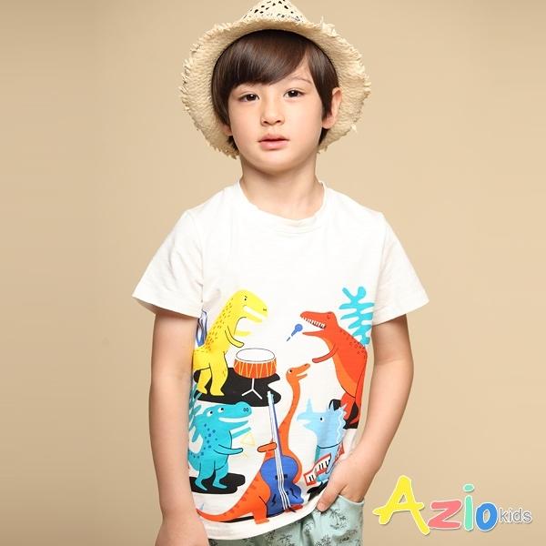Azio 男童 上衣 恐龍森林音樂會印花短袖上衣T恤(白) Azio Kids 美國派 童裝