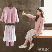 女童兩件套裙秋裝新款韓版童裝兒童洋氣毛衣套裝潮衣 zm8000【每日三C】