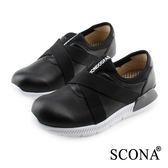 SCONA 蘇格南 全真皮 輕量高彈力套式休閒鞋 黑色 7266-1