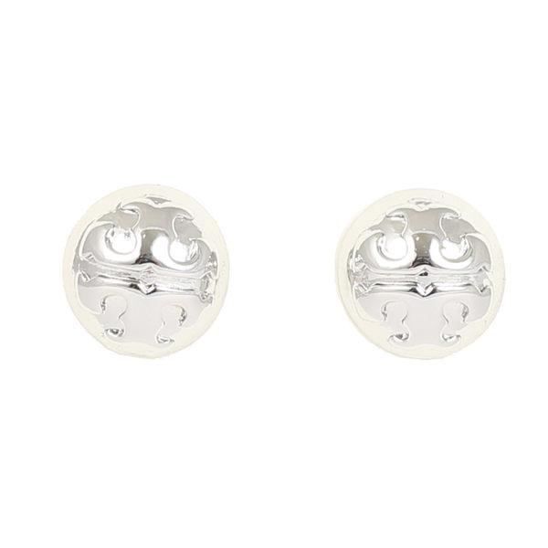 TORY BURCH 浮雕經典金屬LOGO 針式耳環(銀)