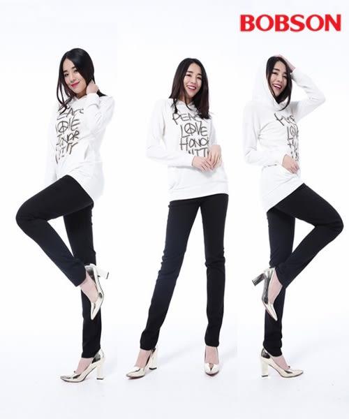 BOBSON 女款高腰膠原蛋白拉毛小直筒褲(8140-87)