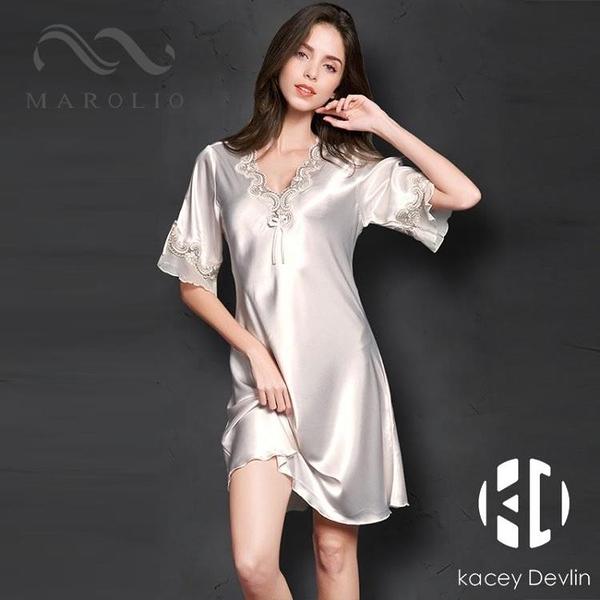 睡衣夏季女性感冰絲薄款大碼真絲綢家居服女士睡裙【Kacey Devlin】