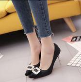 高跟鞋女鞋百搭尖頭細跟單鞋女休閑鞋淺口 ✎﹏₯㎕ 米蘭shoe 621-024