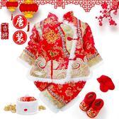 現貨出清周歲服  新年寶寶周歲抓周唐裝嬰兒百天加絨加厚冬款套裝紅色喜慶禮服衣服 珍妮寶貝1-17