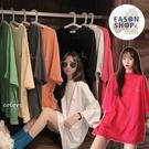 EASON SHOP(GQ1074)韓版糖果色簡約線條印花落肩寬鬆圓領五分短袖素色棉T恤女上衣服彈力打底內搭寬版