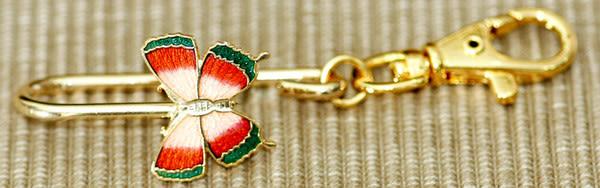 • 【鹿港窯】景泰藍掛式皮包鎖圈‧蝴蝶‧出外公差‧旅行‧方便你快速拿到鑰匙