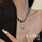克妹Ke-Mei【AT67558】GD歐美時尚個性金屬字母鎖骨頸鍊(二款)