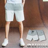 厚磅棉褲【ES114】OBI YUAN韓版魚鱗布雙色拼接無修邊設計休閒棉質短褲