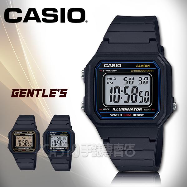 CASIO手錶專賣店 卡西歐 W-217H-1A 數字電子錶 橡膠錶帶 超亮LED照明 碼錶