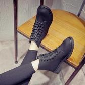 秋冬女靴子英倫單里馬丁靴短靴粗跟單靴防滑系帶學生女鞋子