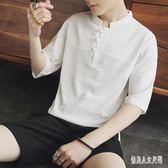 襯衫男韓版修身夏季短袖休閒棉麻中國風立領休閒襯衫 QW3663『俏美人大尺碼』