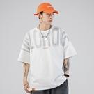 夏新款日系短袖T恤男士潮牌學生純棉印花嘻哈寬鬆落肩五分袖體恤Y【快速出貨】