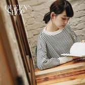 Queen Shop【01012227】配色細條紋小高領針織上衣 兩色售*現+預*