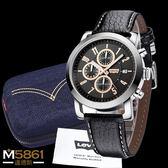 【Levis】Levi's 男錶 三眼錶 計時運動錶 石英錶 真皮錶帶 經典盒裝/金/43mm