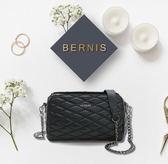 BERNIS三層式斜背包-小羊皮菱格紋系列BNA18041BK