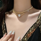 項鍊 雙層疊戴項鍊大珍珠滿鉆鎖骨鍊個性頸鍊韓國氣質網紅女潮小眾吊墜 晶彩 99免運