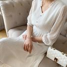 連身裙 花邊收腰蕾絲七分袖洋裝PT9354-創翊韓都