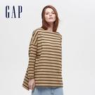 Gap女裝 簡約風格純色圓領長袖T恤 656453-駝色條紋
