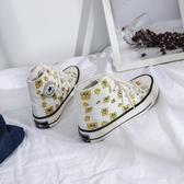 海綿寶寶高筒帆布鞋女韓版ulzzang潮新款秋季超火百搭板 『洛小仙女鞋』