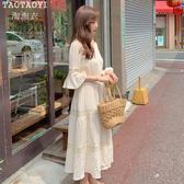洋裝 V領荷葉邊袖長裙收腰鏤空拼接過膝連身裙