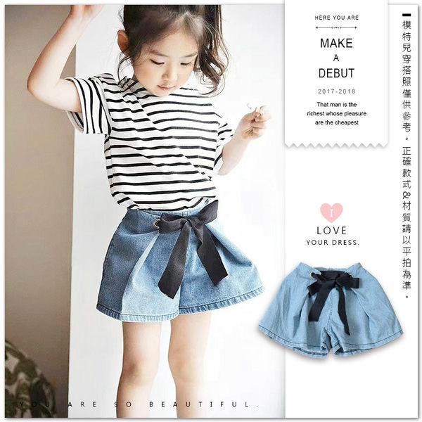 韓版綁帶蝴蝶結牛仔褲裙 牛仔裙 甜美 鬆緊褲頭 女童 哎北比童裝