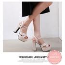 高跟涼鞋 米白色粗跟交叉面 高跟鞋 晚宴鞋 新娘鞋*KWOOMI-A61