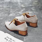 年終好禮 尖頭單鞋女春季新款女鞋英倫懶人鞋女一腳蹬中跟粗跟鞋
