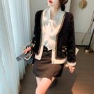 VK精品服飾 韓國小香風氣質水貂絨寬鬆v領高質感單品外套