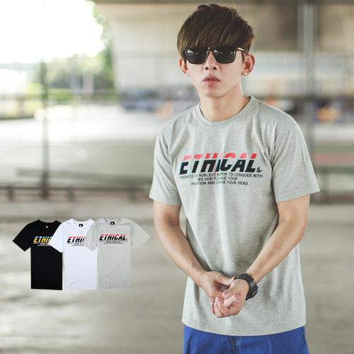 T恤 雙色植絨ETHICAL文字短T【NB0539J】