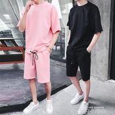 夏裝新款短袖套裝男韓版潮流寬鬆五分袖t恤男短褲運動休閒一套服 依凡卡時尚
