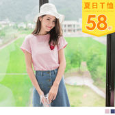 《AB6876》竹節棉電繡英字拼貼愛心反摺袖T恤/上衣 OrangeBear