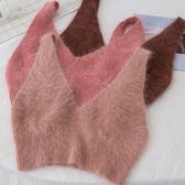 1303#秋裝新款韓版吊帶針織小背心外穿上衣女小清新短款毛絨