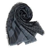 【雪曼國際精品】GUCCI經典流蘇雙G Logo圍巾披肩(灰黑,140x140cm)─新品現貨
