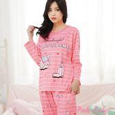 簡約條紋長袖成套睡衣 晚安北極熊288-6 (粉)-Pink Lady