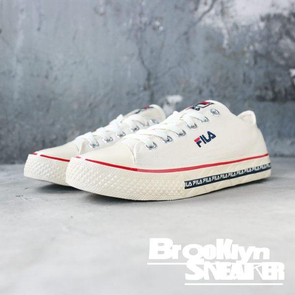 FILA 白布 奶油底 英文logo 黑邊 帆布鞋 男女 (布魯克林) 2019/1月 4C105T112