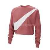 Nike 長袖T恤 NSW Swoosh Fleece Crew 粉紅 白 女款 大學T 短版 【PUMP306】 BV3934-897