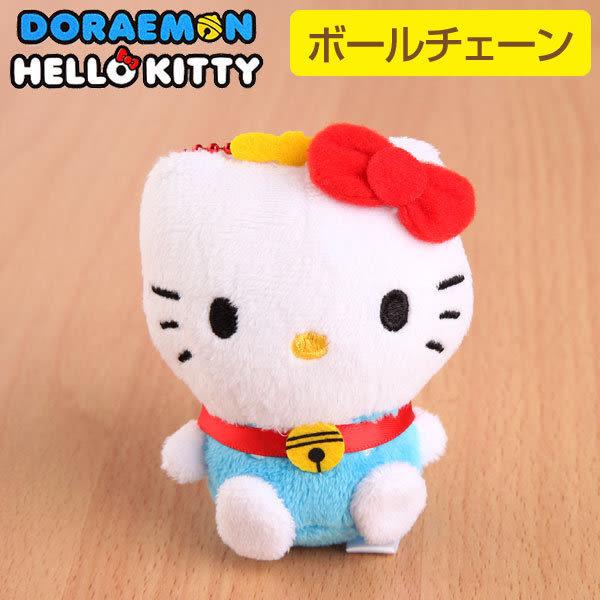 Hamee 日本 哆啦a夢 凱蒂貓 聯名款 絨毛玩偶 珠鍊吊飾 (Hello Kitty) 457-400903
