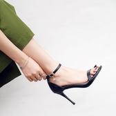 高跟涼鞋女 細跟涼鞋 網紅真皮女一字扣帶露趾新款時尚高跟鞋韓版女鞋子《小師妹》sm4256