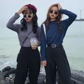 長袖上衣純色長袖T恤女秋季新款韓版修身顯瘦基礎款半高領打底衫上衣