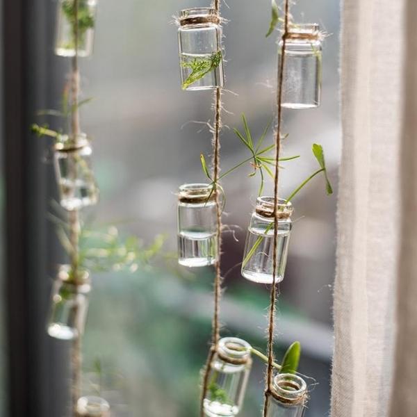 【掬涵】玻璃瓶串裝飾掛件吊飾門簾水培植物花器綠植風鈴森繫北歐