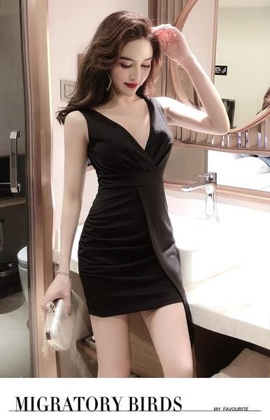 夜店酒吧女裝閃亮氣質小禮服性感低胸深V領收腰顯瘦無袖洋裝子 安妮塔小铺