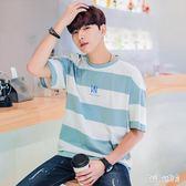 男潮流短袖t恤青年學生2019夏季韓版休閒寬鬆打底衫百搭上衣 QG28180『Bad boy時尚』