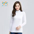 【WIWI】MIT溫灸刷毛高領發熱衣(純淨白 女S-2XL)