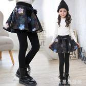 中大尺碼女童褲裙假兩件新款兒童打底褲中大童裙褲加絨 js10978『黑色妹妹』